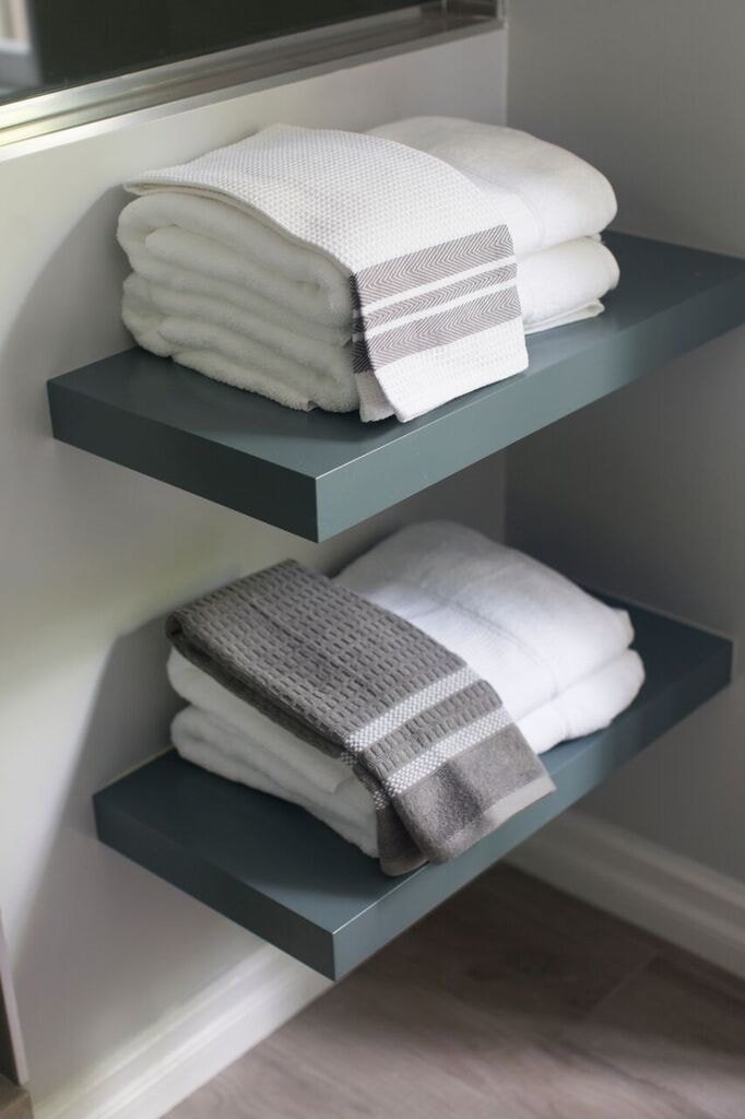 Dannielle Albrecht interior design bathroom shelves Westwood